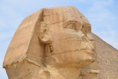 Sphinx at the Pyramids of Giza in Egypt