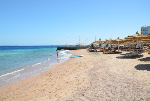 The beach at Montillon Grand Horizon Beach Resort in Hurghada, Egypt