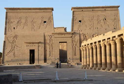 Temple of Isis and the colonnaded courtyard at Philae Temple on Agilkia Island, Egypt