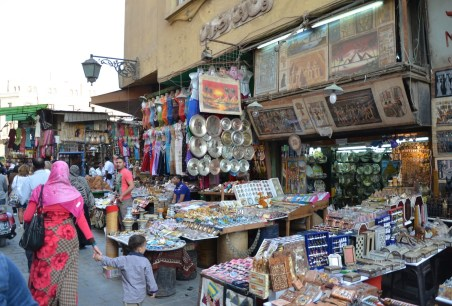 Shopping outside the bazaar in Cairo, Egypt