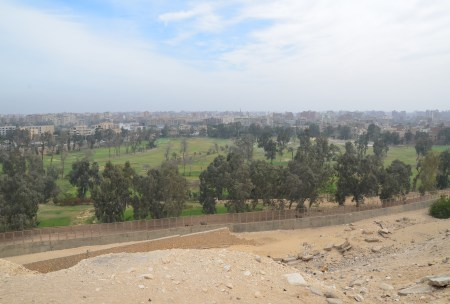 View of Cairo from the Pyramids of Giza in Egypt