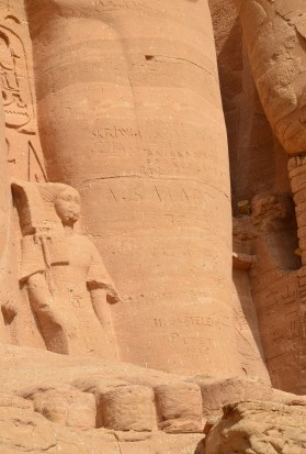 Graffiti left by travelers at the Temple of Ramses II at Abu Simbel, Egypt