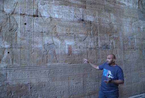 Ramis lecturing about the temple at the Temple of Edfu, Egypt