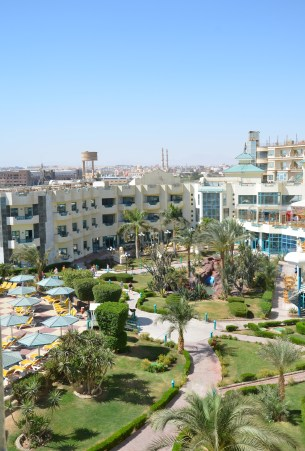 The view from my room at Montillon Grand Horizon Beach Resort in Hurghada, Egypt