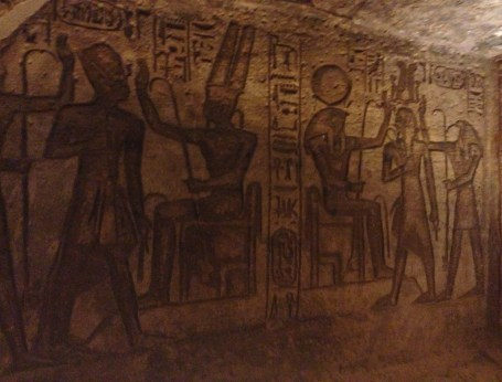 Relief inside the temple at the Temple of Ramses II at Abu Simbel, Egypt