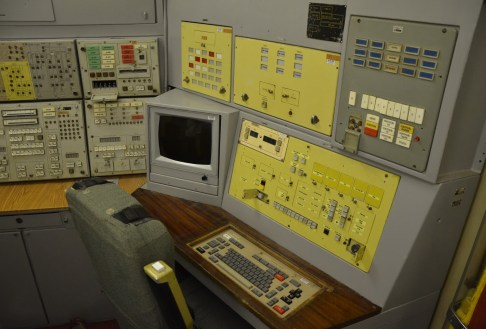Command center in the Unified Command Center at Strategic Missile Forces Museum near Pobuzke, Ukraine