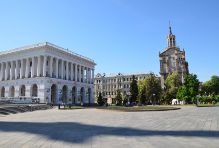 Concert Hall of the Kiev State Conservatory (left) and Ukraine State Department of Food (right) at Maidan Nezalezhnosti in Kiev, Ukraine
