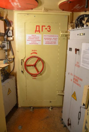Door to the shaft in the Unified Command Post at Strategic Missile Forces Museum near Pobuzke, Ukraine