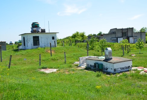 Guard house (rear) and entrance to the guard house (front) at Strategic Missile Forces Museum near Pobuzke, Ukraine