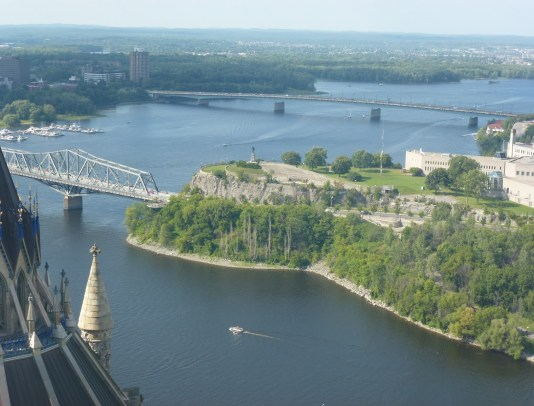 Nepean Point from the Peace Tower at Parliament in Ottawa, Ontario, Canada