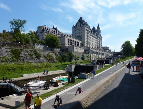 Rideau Canal and Château Laurier in Ottawa, Ontario, Canada