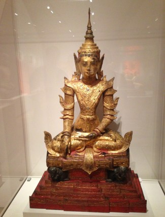 Crowned and Bejewelled Buddha Seated on an Elephant Throne (Late 19th Century) at the Art Institute of Chicago