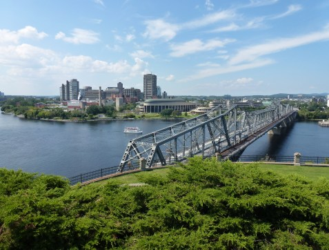 Alexandra Bridge and Gatineau from Nepean Point in Ottawa, Ontario, Canada