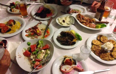 Our first dinner at Bahari in Karfas, Chios, Greece