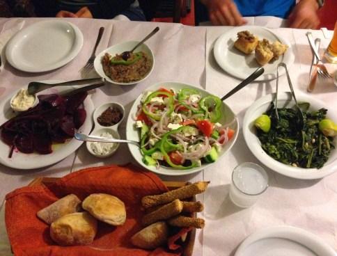 Beets, Greek salad, and horta at Bahari in Karfas, Chios, Greece