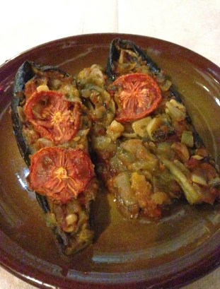 Stuffed eggplant at Oda in Tiranë, Albania