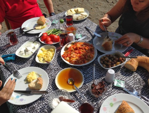 Breakfast on the beach at Ovabükü, Datça, Turkey
