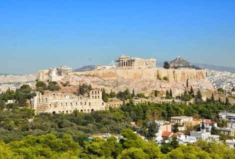 View of the Acropolis on Filopappos Hill in Athens, Greece