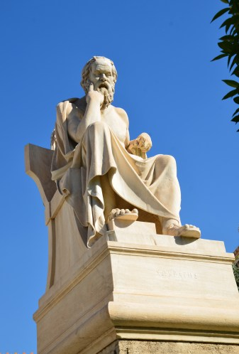 Statue of Socrates at Academy of Athens in Athens, Greece