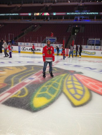 Me at center ice! at the United Center, Chicago, Illinois