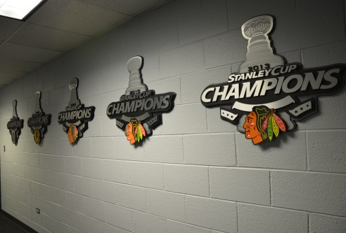 Locker room at the United Center, Chicago, Illinois
