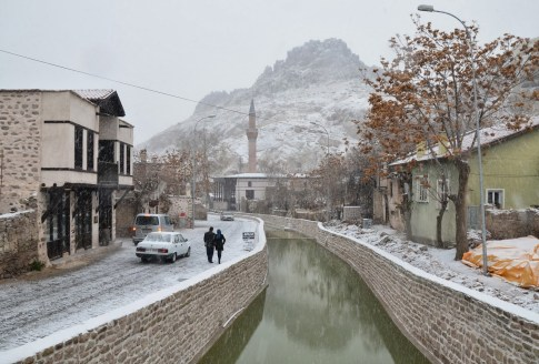 Snow along the river in Sille, Turkey