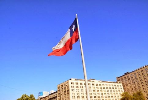Chilean flag at Plaza Bulnes in Santiago de Chile