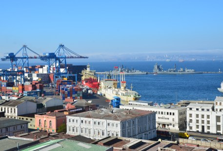 View of the port from Cerro Cordillera in Valparaíso, Chile