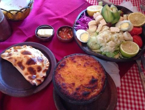Empanada, pastel de choclo, and plato vegeteriano at Restorant San Pedro in Pomaire, Chile