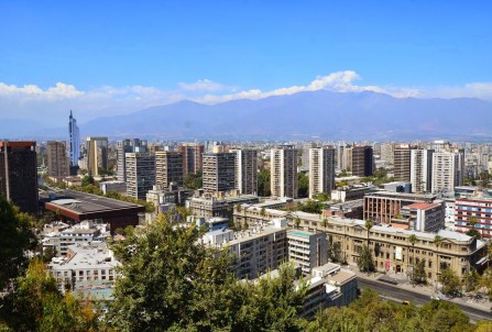 View from the lookout post at Cerro Santa Lucía in Santiago de Chile