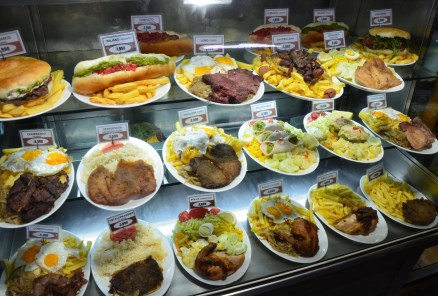 Chilean dishes at a lunch counter in Santiago de Chile