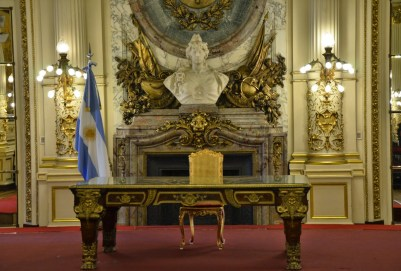 Salón Blanco at Casa Rosada on Plaza de Mayo in Buenos Aires, Argentina