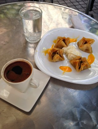 Turkish coffee and baklava at Döner House in Santiago de Chile