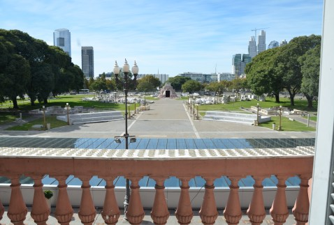 View of Parque Colón at Casa Rosada on Plaza de Mayo in Buenos Aires, Argentina