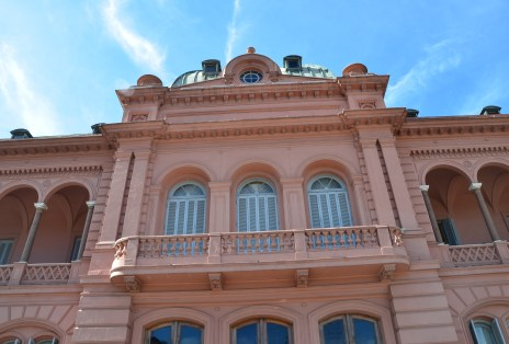 Eva Perón's balcony at Casa Rosada on Plaza de Mayo in Buenos Aires, Argentina