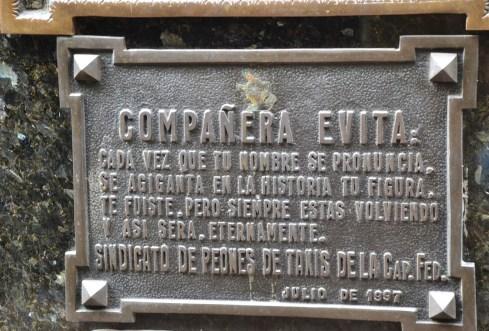 Tomb of Eva Perón at Cementerio de la Recoleta in Buenos Aires, Argentina