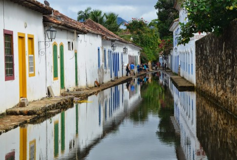 A flooded street in Paraty, Brazil
