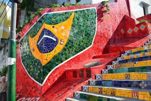 Brazilian flag tiles at Escadaria Selarón in Rio de Janeiro, Brazil