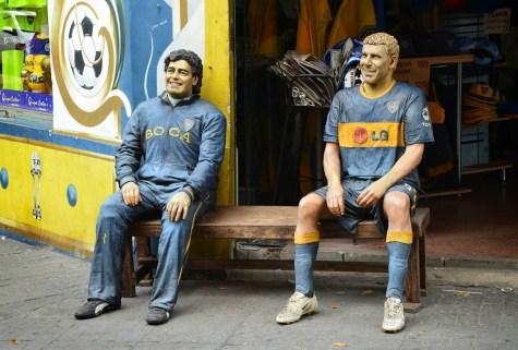 Diego Maradona and Juan Riquelme sculptures in La Boca, Buenos Aires, Argentina