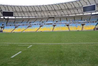 View from the visitors' bench at Estádio do Maracanã in Rio de Janeiro, Brazil