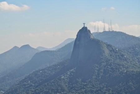 The view of Corcovado from Pão de Açúcar in Rio de Janeiro, Brazil