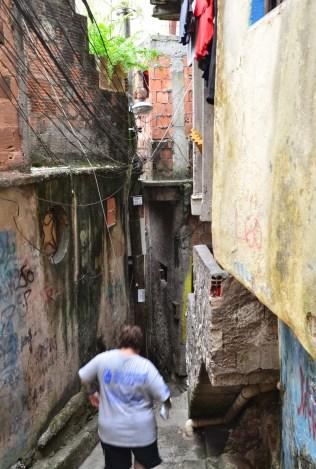Alley at Rocinha favela, Rio de Janeiro, Brazil