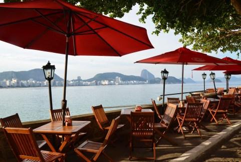 Café do Forte, with Pão de Açúcar in the background at Forte de Copacabana in Rio de Janeiro, Brazil