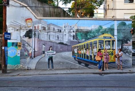 A mural in Santa Teresa in Rio de Janeiro, Brazil