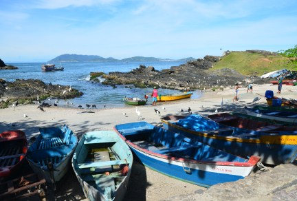 Fishing boats at Boca da Barra in Cabo Frio, Brazil