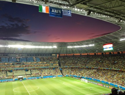 A beautiful sky at half time at Arena Castelão in Fortaleza, Brazil