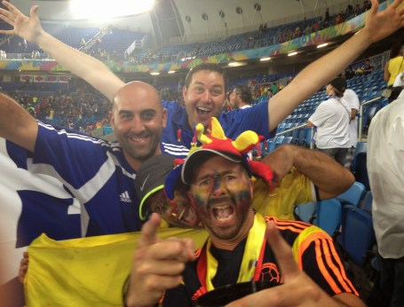 Celebrating with some Colombian fans at Arena das Dunas in Natal, Brazil