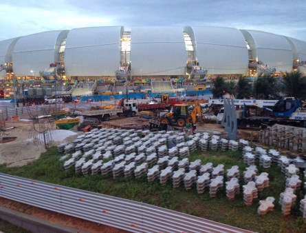 Construction zone at Arena das Dunas in Natal, Brazil
