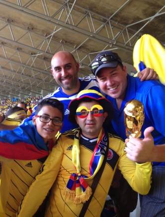 With some fans after the game 2014 World Cup at Estádio Mineirão in Belo Horizonte, Brazil