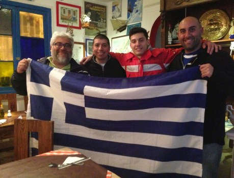 After the game – (L to R) Adriano (the owner of Opa Opa), Alvaro, Stathis, Me at Opa Opa in Santiago, Chile